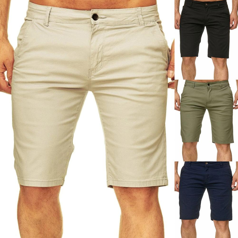 Summer Beach Travel Men Casual Solid Color Slims Fit Fifth Pants Shorts Trousers Men Cotton Solid Casual Beach Shorts
