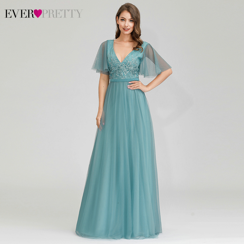 Elegant Blue Evening Dresses Ever Pretty Sequined Embroidery A-Line Deep V-Neck Short Ruffles Sleeve Long Party Gowns Vestidos