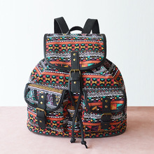 LILY QUEEN Women Backpack Vintage Canvas Female Boho Drawstring Rucksack Hippie School Bags