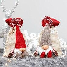 1 Pc Kawaii Interessant Weihnachten Dekorationen Santa Claus Strahl Mund Leinen Tasche Forester Gesichtslosen Puppe Geschenk Tasche