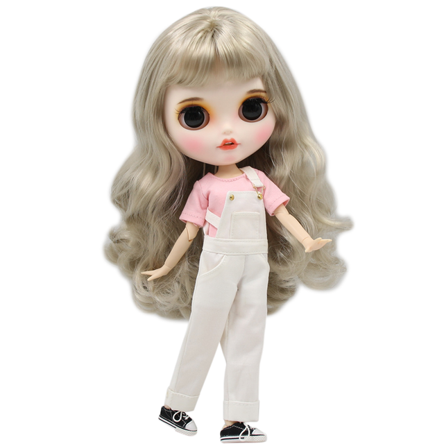 Blyth Doll 1/6 Joint Body hand painted matte face white skin silver curls hair suit 30cm DIY BJD SD toys gift