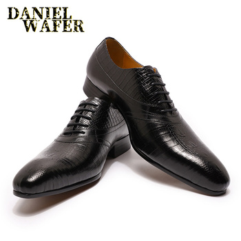 Luxury Oxford Men's Dress Shoes Black Brown Alligator Prints Leather Lace Up Pointed Toe Office Wedding Business Men Formal Shoe