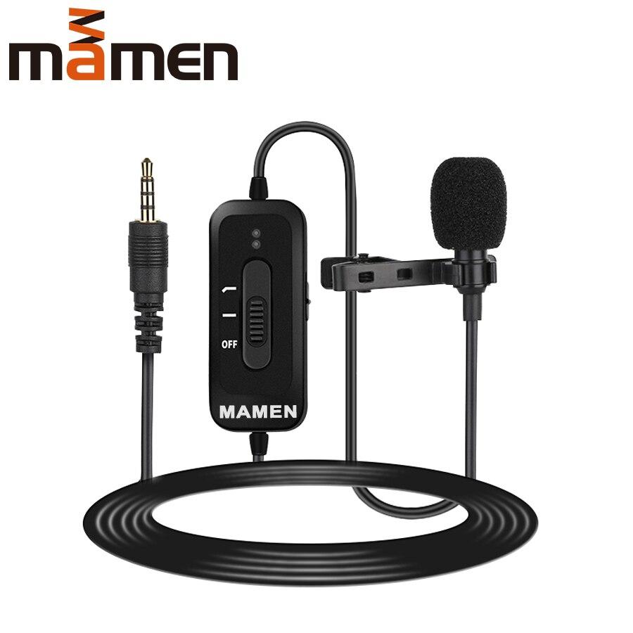 MAMEN 8m Cable Clip-On Lavalier Microphone 3.5mm Plug Condenser Mic Vlog Recording Microfono For Smartphone DSLR Camera PC