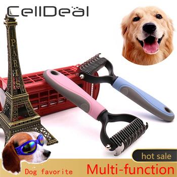 Grzebień do usuwania włosów dla psów kot Detangler futro przycinanie Dematting furminator narzędzia do pielęgnacji psów dla matowych długich włosów kręcone zwierzę domowe tanie i dobre opinie CN (pochodzenie) Z tworzywa sztucznego AB1164183MM 420J2+PP+TPR(Environmental protection) Blue Pink Reducing the amount of hair loss