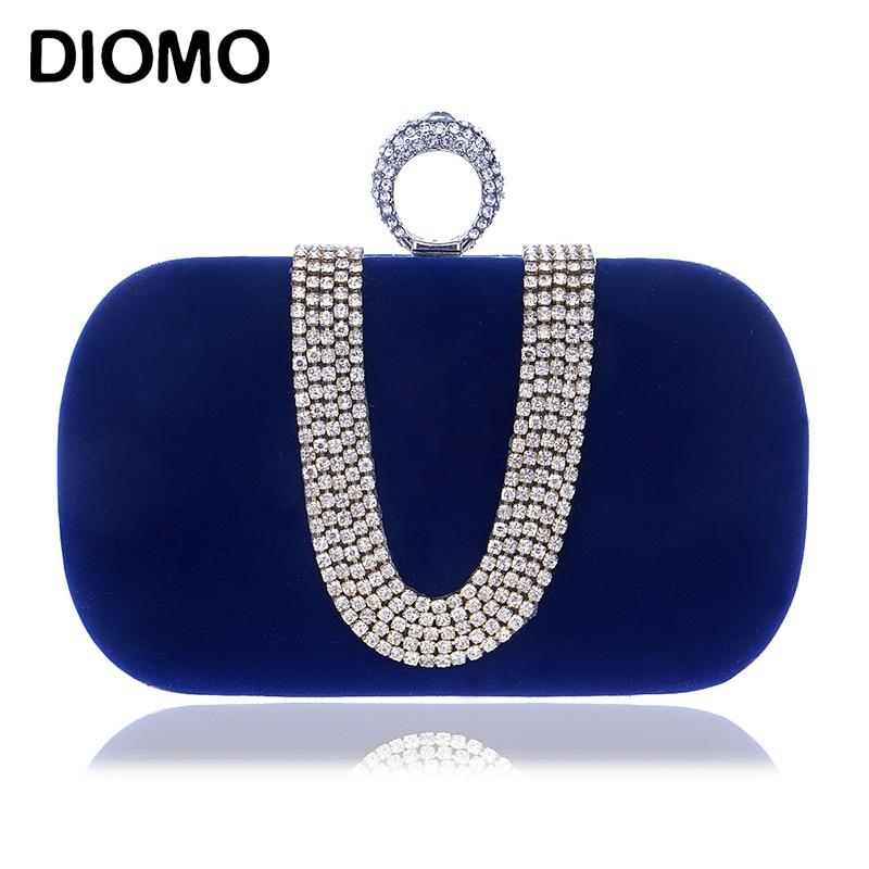 DIOMO Evening Bags Elegant Ladies Luxury U-shaped Diamond Clutch Purse Wedding Party Women Chain Ring Bags Black Blue Purple