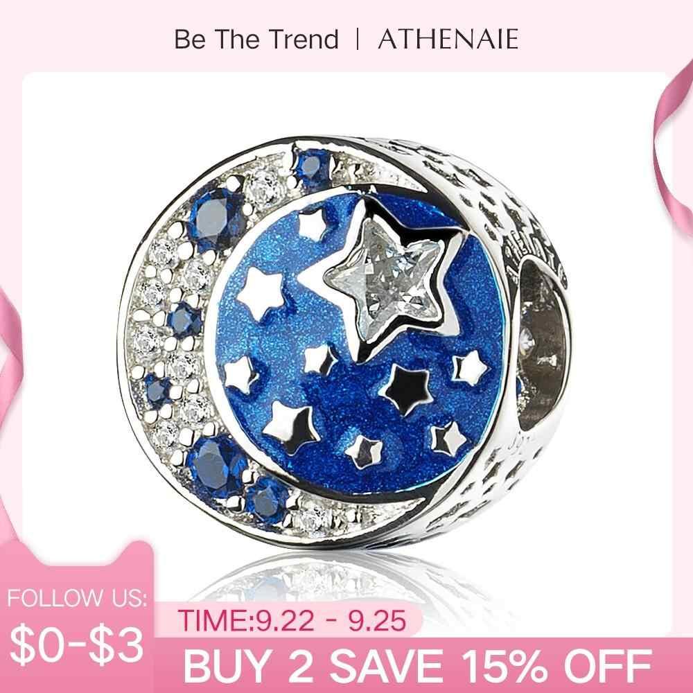 "ATHENAIE 925 Sterling Silver ""AKU Cinta Anda ke Bulan dan Kembali"" Berkilauan Tengah Malam Biru Enamel Hiasan Manik-manik hadiah natal"