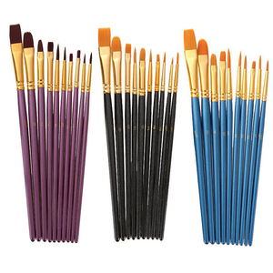 Image 5 - 10Pcs/Set Nylon hair paint brush different sizes oil watercolor drawing art brush  painting materials supplies