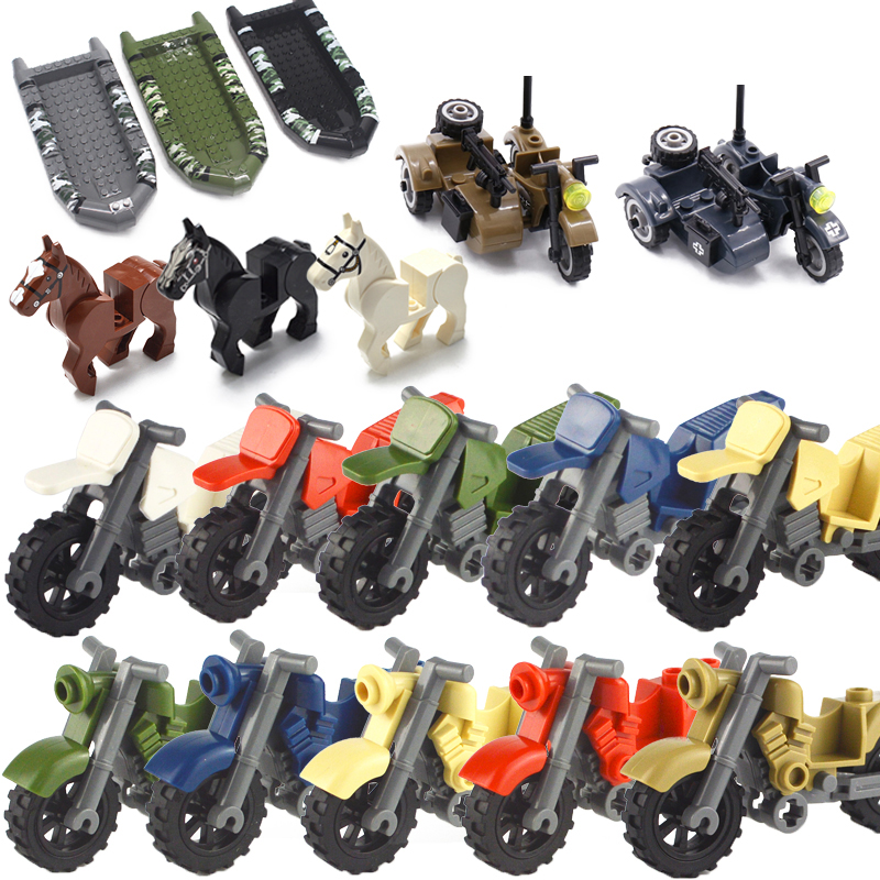 Military Weapon Motorcycle Camouflage Rubber Boat Battle Horse Education Accessories Blocks Toys For Children Military Kits MOC
