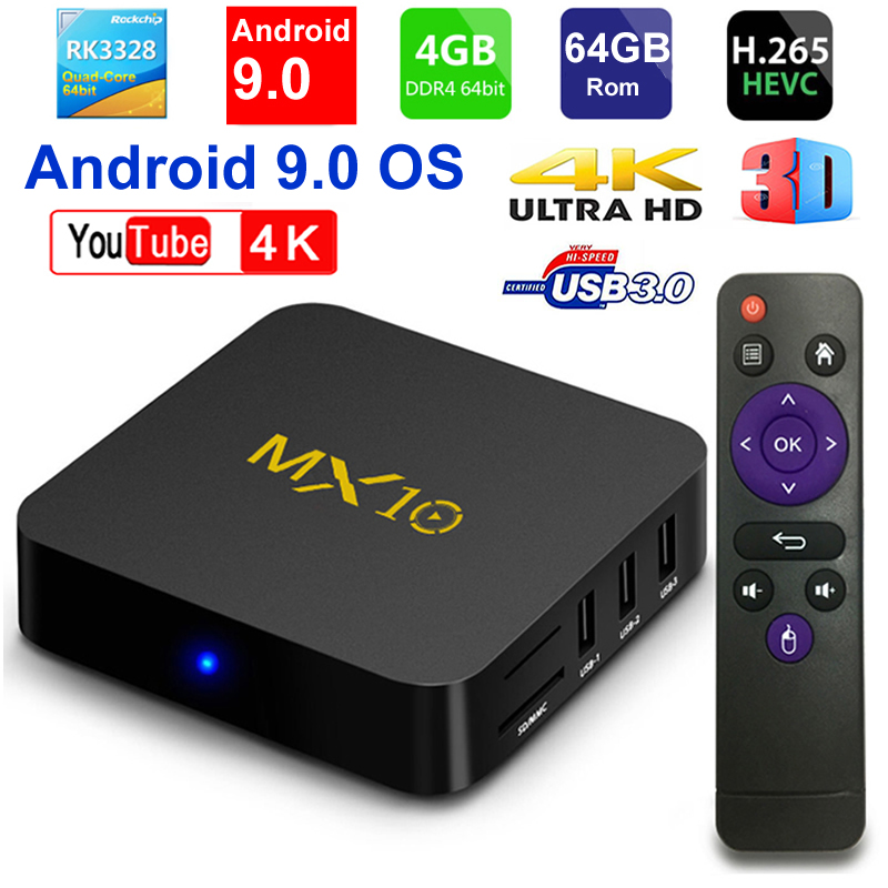 2019 New MX10 Android TV BOX Android 9 0 RK3328 Quad core 4G RAM 64G ROM