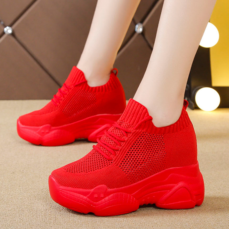 Rimocy Hidden Heels Platform Sneakers Women Breathable Air Mesh Wedge Sock Shoes Woman Autumn Casual Ladies Shoes Zapatos Mujer