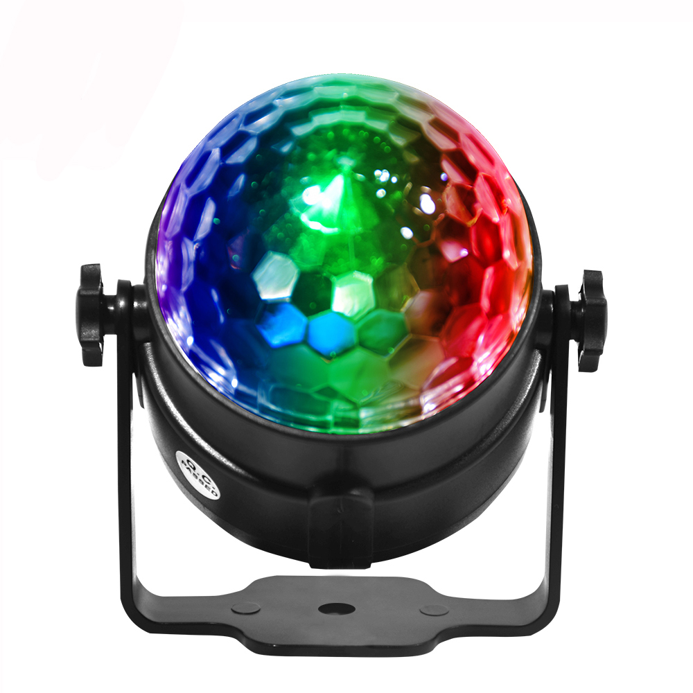 Sound Activated Rotating Disco Ball Party Lights Strobe Light 3W RGB LED Stage Lights For Christmas Home KTV Xmas Wedding Show|Stage Lighting Effect| |  - title=