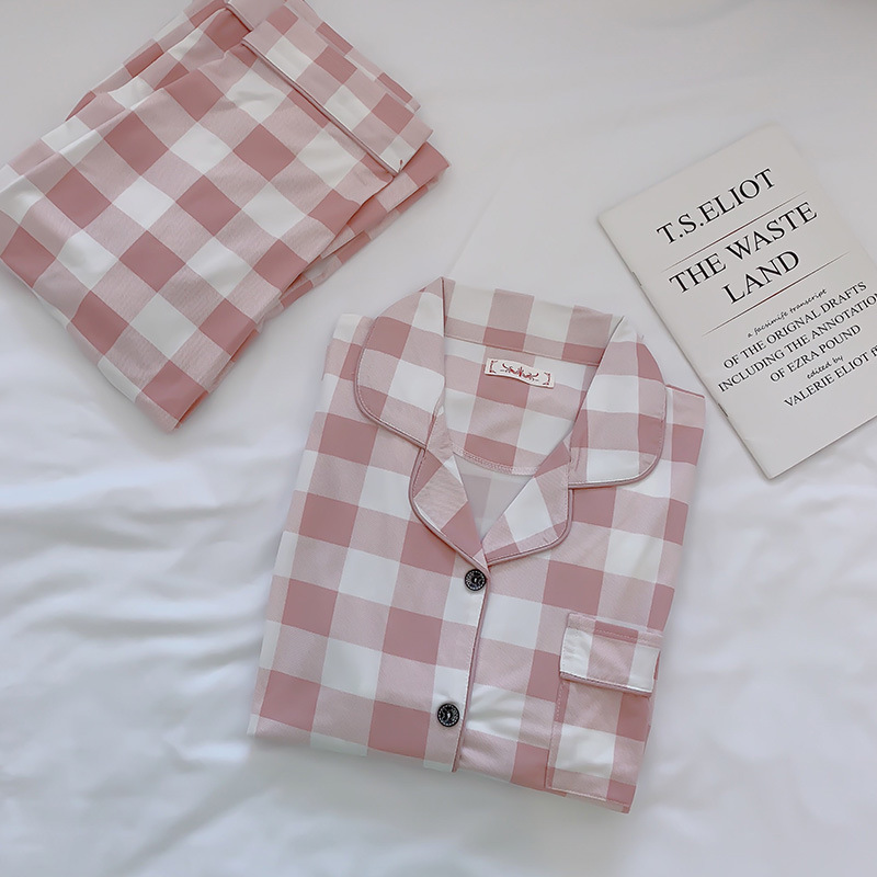 2019 Women Cotton Pajamas Sets with Pants Long Sleeve Turn-down Collar with Pocket Pyjama Cute Cartoon Button Top+Pants Pijama 36