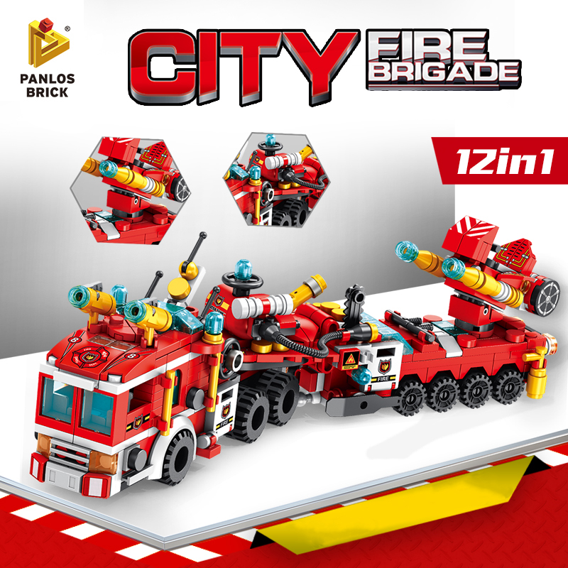 Stacking Blocks Fire Brigade Helicopter Fire Truck Car Motorboat Firefighting Airplane Building Blocks Toy Gift For Boy Children