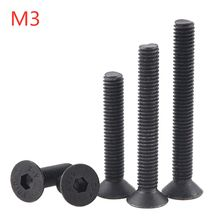 20PCS M3x6 8 10 12 16 20 25 30 35 Hexagon Socket Flat Countersunk Head Screw Carbon Steel Hex Socket Bolts Machine Screw DIN7991