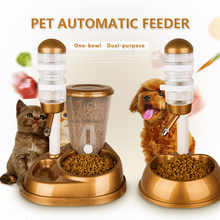 Dual-Use Pet Cat Dog Automatic Feeder with Water Fountain Large Capacity Food Bucket and Water Bottle Dispenser for Dog Cat - DISCOUNT ITEM  36% OFF Home & Garden