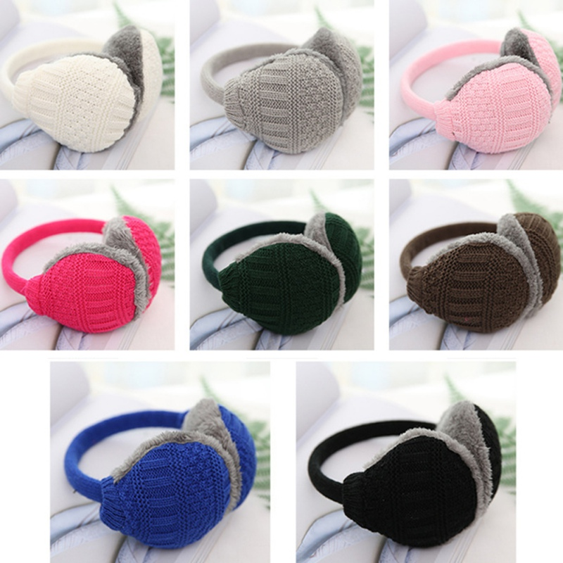 Winter Earmuffs Unisex Solid Winter Ear Warmer Knitted Earlap Men Womens Earflap Earmuffs Detachable Plush Earmuffs