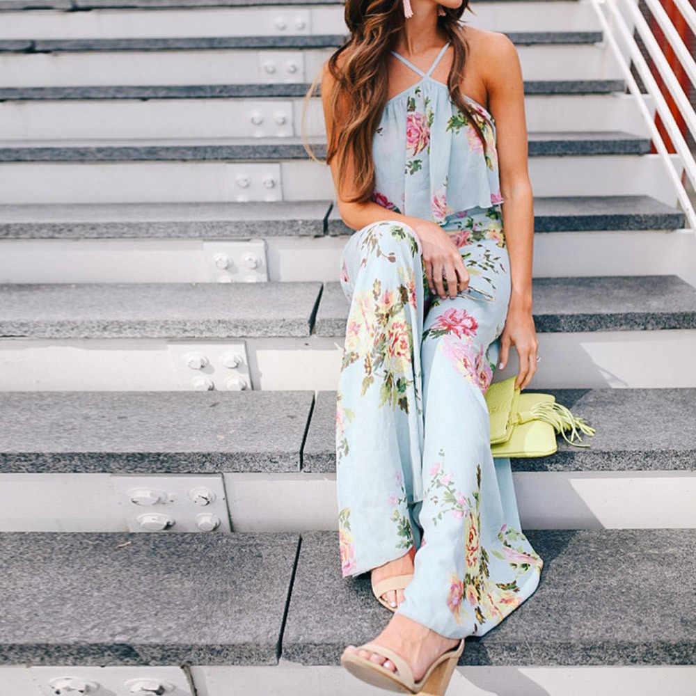 بذلة أنيقة فضفاضة حمالة النساء حزام الزهور أكمام عارية الذراعين بذلة طويلة واسعة الساق السراويل في الهواء الطلق الشاطئ 19JUL31