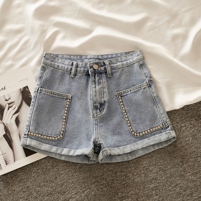 Jeans Ms. Summer 2020 Nian New Loose Rivet High Waist Thin Leisure Wide Leg Pants Shorts Hot Pants