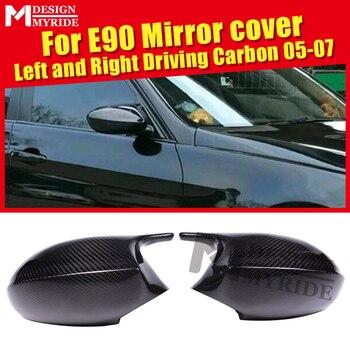 100% abgesaugt Trockenen Wirklich Carbon Fiber Spiegel Abdeckung Kappe Hinzufügen auf Stil M3 Look Für BMW E90 3 Serie Limousine ersatz 2-Pcs 2005-07