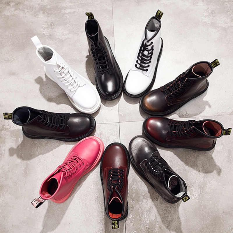 אופנה קרסול מגפי נשים מגפי אוהבי עור אמיתי מרטין מגפי נשים חורף מגפי נשים נעלי נעליים בתוספת גודל 43