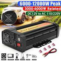 6000/8000/10000/12000W DC 12V to AC 110V Car Power Inverter Charger Converter Adapter 12V to 110V Modified Sine Wave Transformer