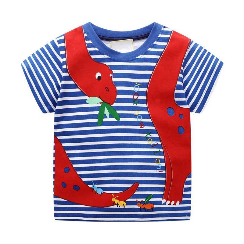 VIDMID baby boys short sleeve t-shirts clothes kids cartoon Dinosaur Tees boys striped clothing t-shirts tops clothes W02 6