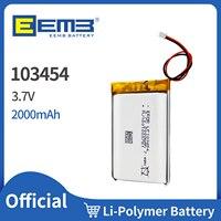 EEMB-batería recargable de polímero Lipo para navegador GPS, batería de litio de 103454 V y 3,7 mAh, auriculares con altavoz y Bluetooth para cámara E-book, MP5, 2000