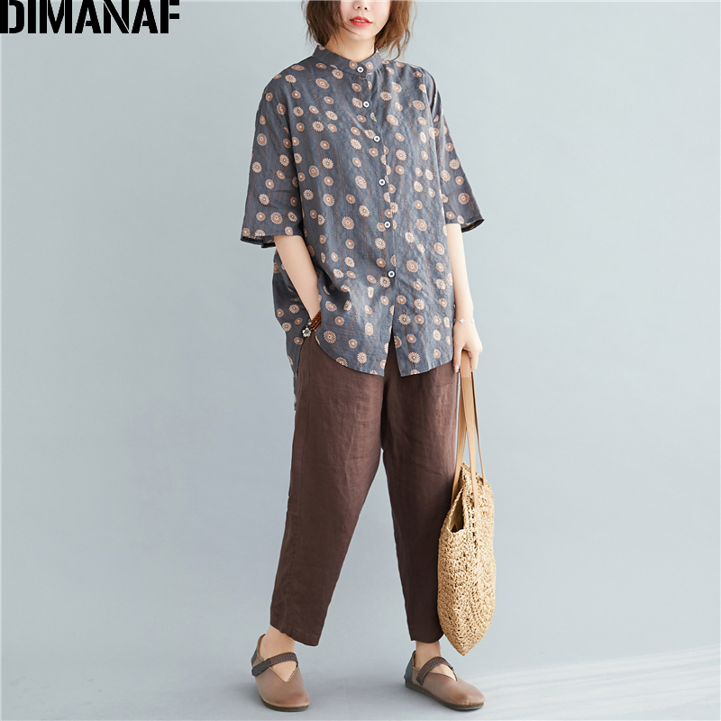 DIMANAF Plus Size Blouse Shirts Women Clothing Summer Lady Tops Tunic Vintage Print Floral Casual Loose Button Linen Cardigan
