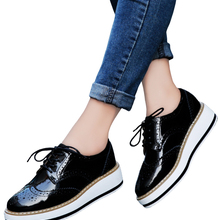 Flats Woman Oxford-Shoes Derby Brogue Spring Classic Female EOFK Footwear Lady Lace-Up