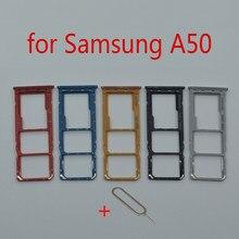 Suporte da bandeja do cartão sim para samsung galaxy a50 a505f a505fm a505fn telefone original novo adaptador slot para cartão micro sd peças de reparo