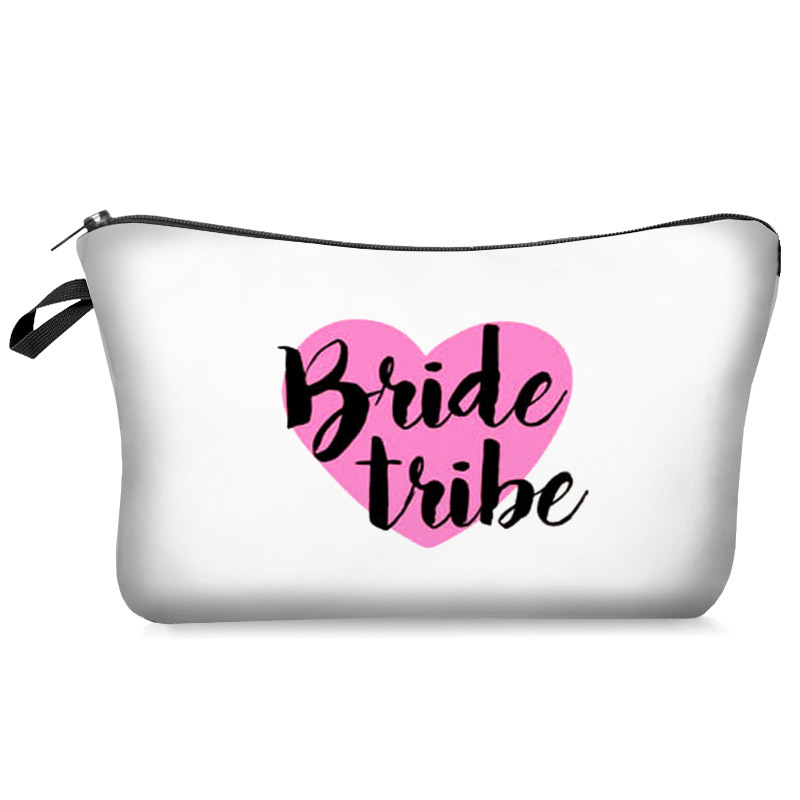 Team Bride Tribe Cosmetic Gift Bag Bridesmaid Wedding Makeup Bag 2019 New Women Toiletry Bag Bridesmaid Proposal Wedding Bag Hot