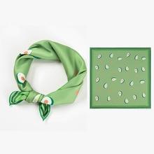 53X53CM New Korean small square silk scarf for girls female avocado green printed ladies Handkerchiefs Top Quality
