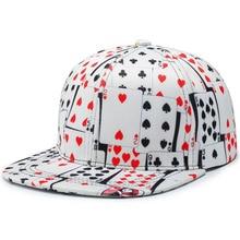 Flat Brim Hat Snapback-Hat Baseball-Cap Gorras Poker-Print Streetwear Women Cotton Hip-Hop