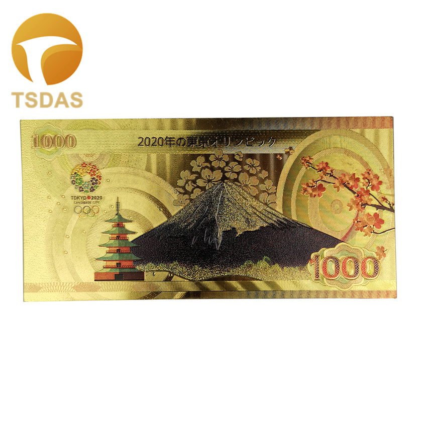 Color Tokyo 2020 Japan Gold Foil Banknote 1000 Yen Colored Banknotes Golden Fake Money For Collection