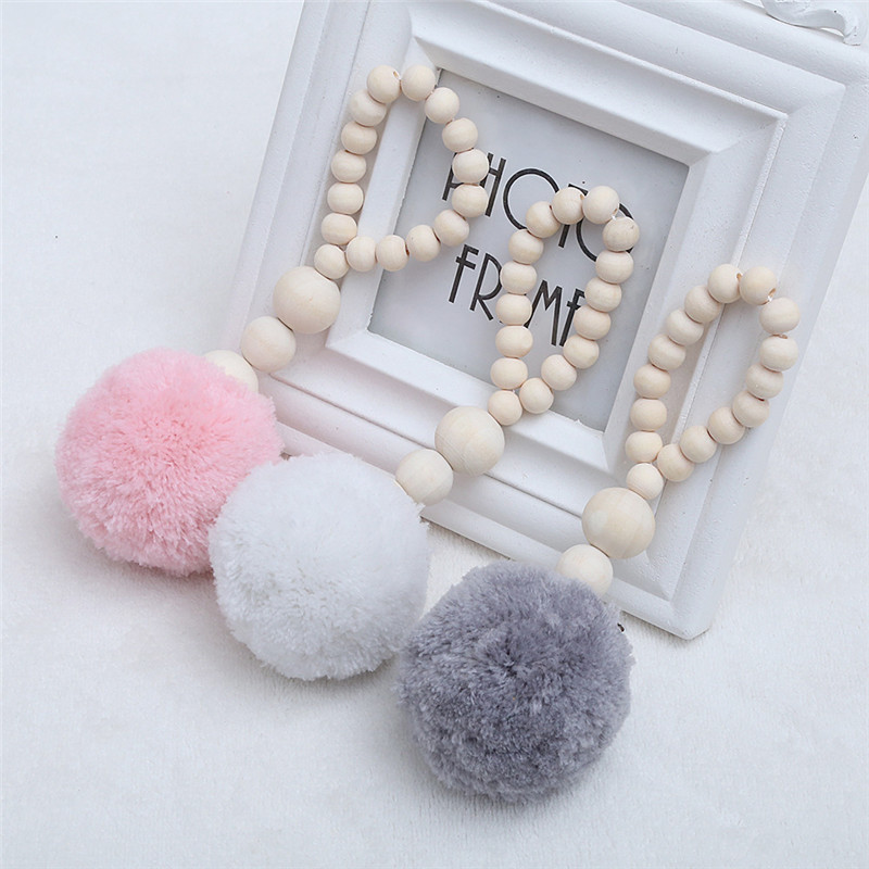 Baby Bed Hanging Wooden Beads With Tassel Ball Garland Hanging Wall Ornament Kid Room Decorations Nursery Baby Room Photography