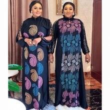 Африканские платья со стразами для женщин черное мусульманское