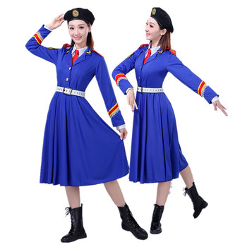 Blue and green army uniform Army Of China performance costume women solider clothing Chorus military uniform.