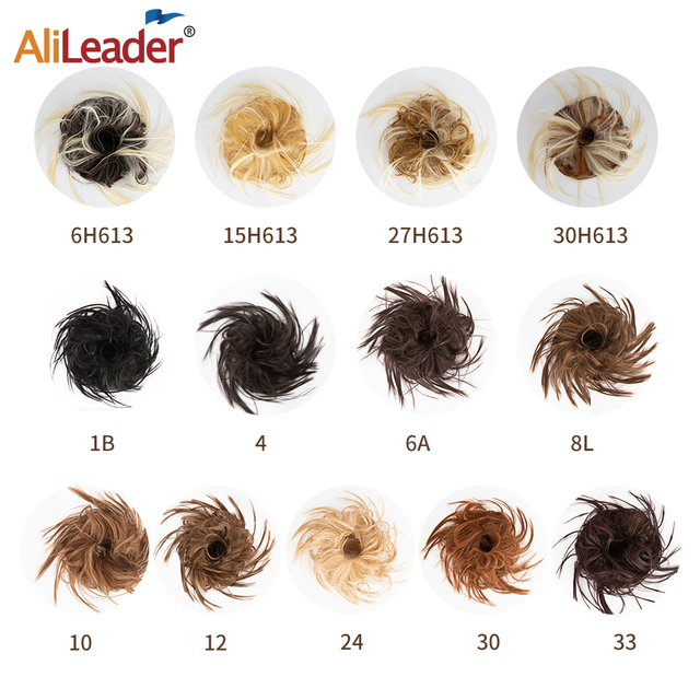 AliLeader 23colors Women Curly Chignon Hair Heat Resistant Synthetic Hair Pieces Extensions Blonde Black Brown Red Chignon 2pcs
