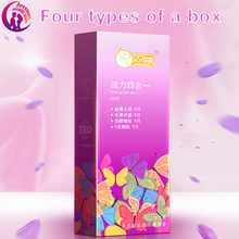 Condoms intimate goods 24pcs/lot Four in one silicone thin ribbed delayed Anesthetic condoms with pimples mustache