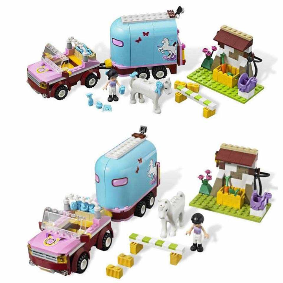BELA10161 Emma's Horse Trailer Figures Compatible legoinglys 3186 Girls Friends Playmobil Building Blocks Bricks Toys