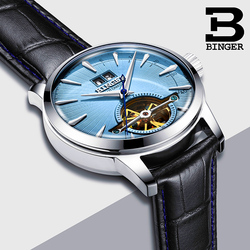 Switzerland High Quality Watches Relogio Masculino binger Automatic Watches For Men Mechanical Skeleton Casual Leather Clock