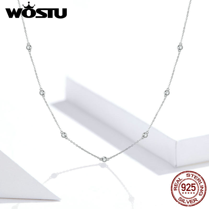 WOSTU Genuine 925 Sterling Silver Bright Zircon Simple Necklace Long Chain Link For Women Wedding Exquisite Jewelry Gift FIN393