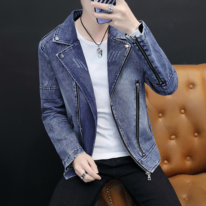 2020 Men's Clothing, New, Oblique Zipper Slim-Fit Lapel Denim Jacket, Youth Casual Epaulet Multi-Zip Denim Jacket