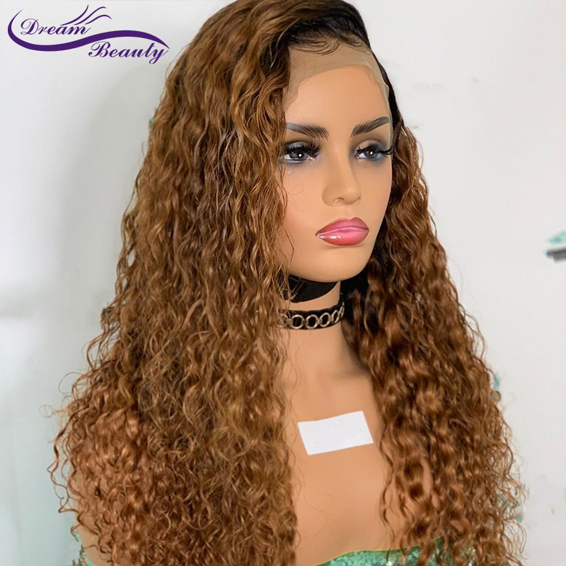 Ombre Blonde Curly Wigs 13x6 Deep Part Lace Front Human Hair Wigs Curly Brazilian Remy Lace Wigs Baby Hair Dream Beauty