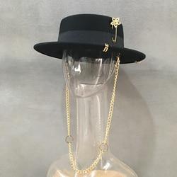 New Women Fedoras Wool Hats Fashion Fedoras With Chain Female Winter Warm Hats
