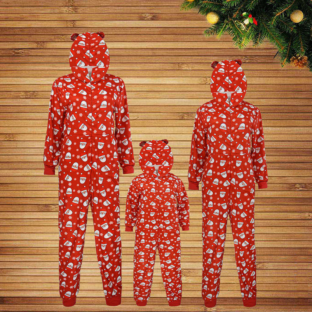 Kid Baby Boy Girl Hood Romper Jumpsuit Father Mother Kids Baby Family Pajamas Sleepwear Christmas Family Pajamas set Outfit