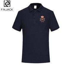 F.N.JACK Polo à manches courtes pour homme, modèle tendance classique en coton, couleur unie, été, décontracté