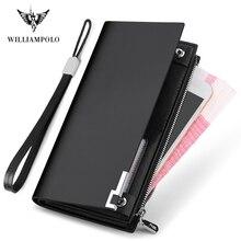 WILLIAMPOLO en cuir véritable hommes portefeuille Design de mode longue paillettes téléphone crédit portefeuille porte cartes PL209