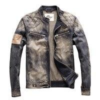 MORUANCLE Men Vintage Biker Jean Jackets With Patch Fashion Hi Street Retro Denim Truck Jacket Motorcycle Outerwear For Male