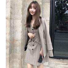Корейское цельнокроеное платье новое осенне зимнее в клетку